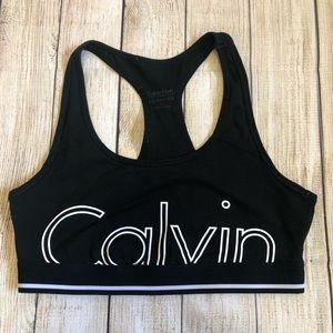 Calvin Klein Logo Name Sports Bra - Black/ White
